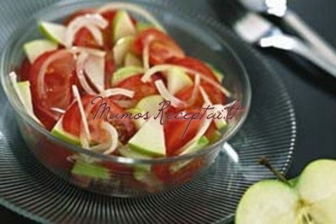 Салат из помидоров лука и яблок